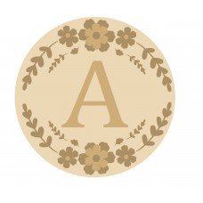 4mm Oak Veneer Circle Initial Layered Floral Plaque (OAK back and 3mm MDF letters) Joined Words and Names to Order