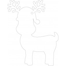 100mm Clear Acrylic Cute Reindeer Shape (pack of 5) Christmas Acrylic