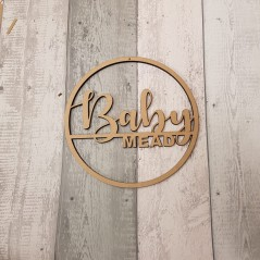 6mm mdf  Double Line Name Hoop (Swirly Font)