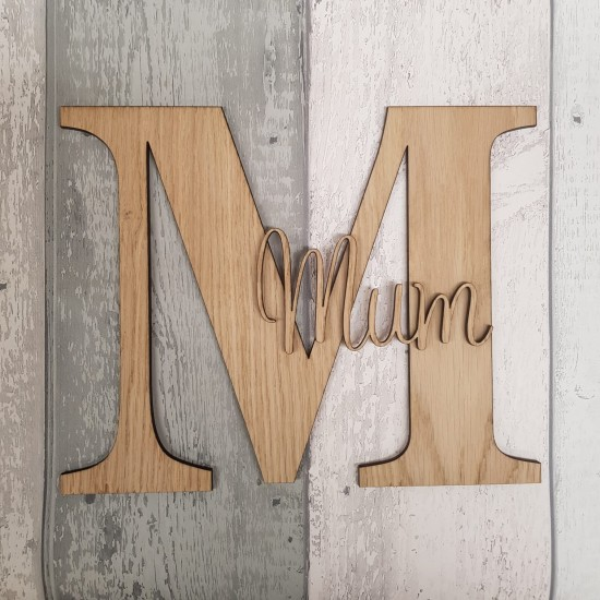 4mm OAK VENEER Letter with Stick on Name 3, 4 and 6mm Letters & Numbers