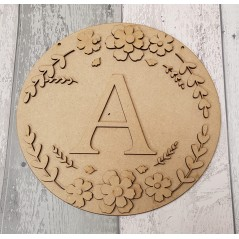 3MM MDF Circle Initial Layered Floral Plaque Joined Words and Names to Order