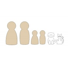 3mm mdf Peg Families Small MDF Embellishments
