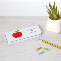 Personalised Printed White Pencil Tin - Red Apple Teachers
