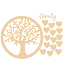3mm MDF Circle of Life Family Tree with hearts and Family word. Trees Freestanding, Flat & Kits