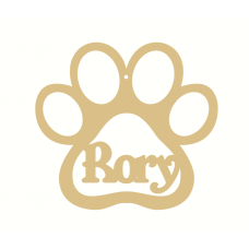 3mm MDF Personalised Dog Paw Bauble Version 2 Personalised and Bespoke