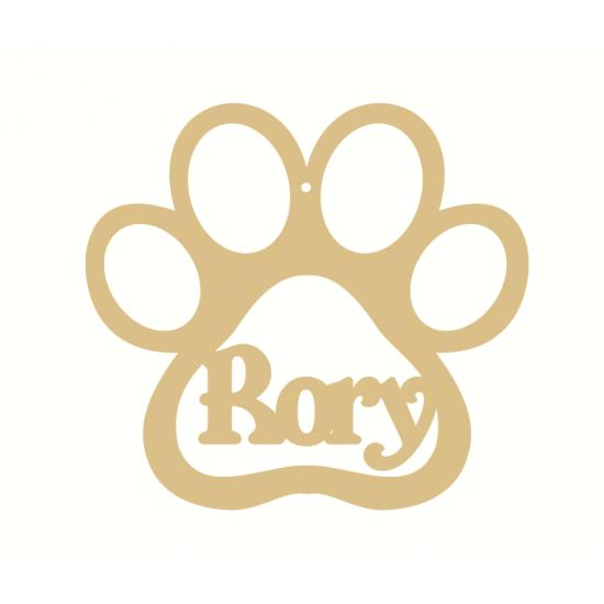 4mm OAK VENEER Personalised Dog Paw Bauble Version 2 Personalised and Bespoke