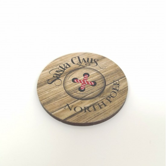 3mm Printed Santa Button - Wood Effect Christmas Craft Shapes