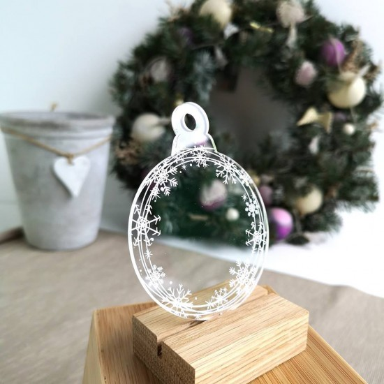 Printed Acrylic Snowflakes Bauble Christmas Baubles