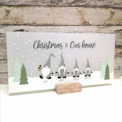 Printed Elf or Gnome Rectangle Christmas Baubles
