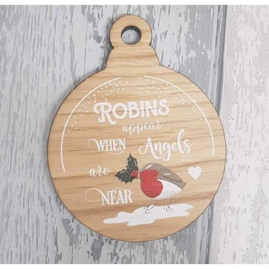 4mm Oak Veneer Printed Bauble  - Robins Appear Christmas Baubles