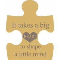 18mm Engraved Jigsaw - It takes a big heart to shape a little mind