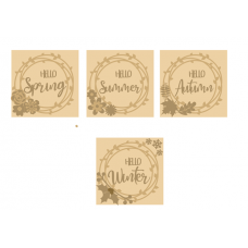 3mm mdf Set of 4 Layered Season Plaques - Spring - Summer - Autumn - Winter Layered Designs