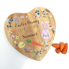 Heart Shaped Easter Bunny Treat Board - floral design Easter