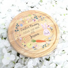 Round Shaped Easter Bunny Treat Board - floral design Easter