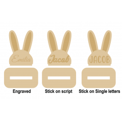 18mm Bunny Head Stocking Hanger (with stick on or engraved name) Christmas Shapes