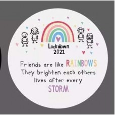 3mm Printed Token - Friends are like rainbows Printed Tokens / Hugs