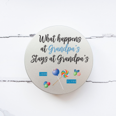 Personalised Printed Tin - What Happens at Grandpa's Personalised and Bespoke
