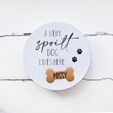 Personalised Printed Tin - A Very Spoilt Dog Lives Here Personalised and Bespoke
