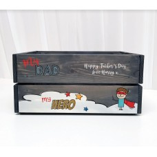 Grey Printed Crate - Fathers Day Crates Easter