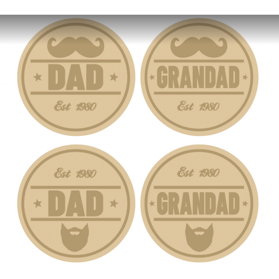 3mm mdf Layered Dad Moustache or Beard Circle Fathers Day