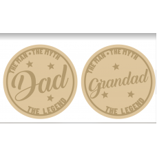 3mm mdf Layered Slanted Dad/Grandad Circle Fathers Day
