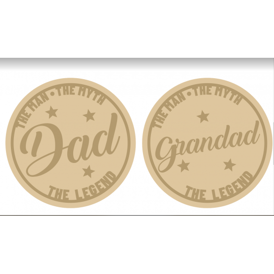 3mm mdf Layered Slanted Dad/Grandad Circle Fathers Day