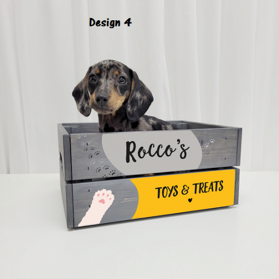 Printed Grey Crate - Pets  Personalised and Bespoke