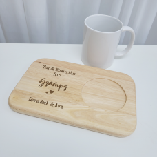 Printed Wooden Tea and Biscuits Tray - Engraved Look Fathers Day