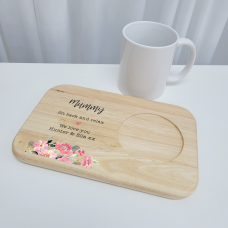 Printed Wooden Tea and Biscuits Tray - Floral Mother's Day
