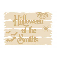 3mm Driftwood Halloween At The Sign with stick on bats, spider and cobweb Halloween