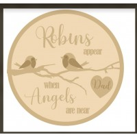 3MM MDF Personalised Layered Circle - Robins Appear When Angels Are Near