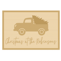 3MM MDF Personalised Layered Rectangle with Truck and Tree - Christmas at the Name Sign