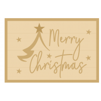 3MM MDF Layered Rectangle - Merry Christmas with tree and stars