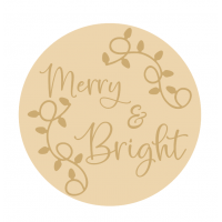 3MM MDF Layered Circle - Merry and Bright with vine leaves