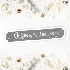 Printed Christmas Street Sign - White Text and Snowflakes Personalised and Bespoke