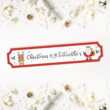 Printed Christmas Street Sign - Santa and Rudolph Personalised and Bespoke