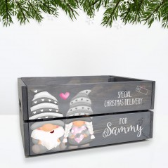 Printed Grey Christmas Crate - Gnome/Gonk Personalised and Bespoke