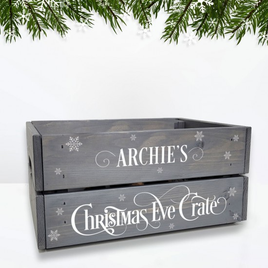 Printed Grey Christmas Crate - White Text and Snowflakes Personalised and Bespoke