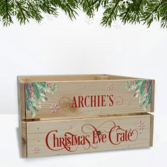 Printed Pale Christmas Crate - Red Text Personalised and Bespoke