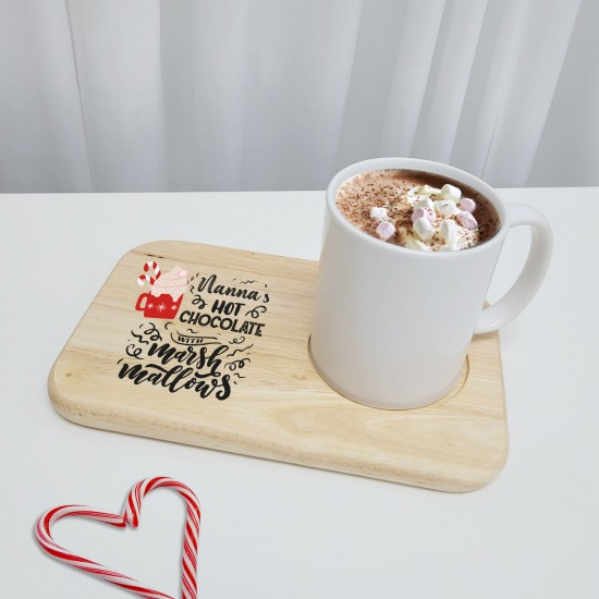 Printed Wooden Hot Chocolate and Marshamallows Board - Design 1 Fathers Day