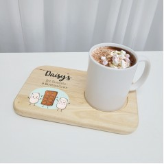Printed Wooden Hot Chocolate and Marshamallows Board - Design 2 Fathers Day
