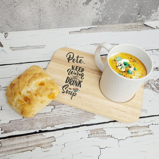Printed Wooden Soup in Mug Board - Design 1 - Keep Warm Fathers Day