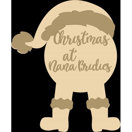Layered Fat Santa Christmas at the sign (legs hanging) Personalised and Bespoke