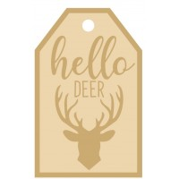 3MM MDF Layered Tag - Hello Deer