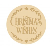 3MM MDF Layered Circle - Christmas Wishes with leaves