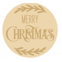 3MM MDF Layered Circle - Merry Christmas with vine leaves