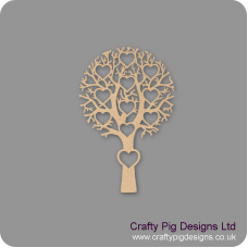 3mm MDF Tree With 11 Hearts - Personalised With Names Or Any Wording Trees Freestanding, Flat & Kits