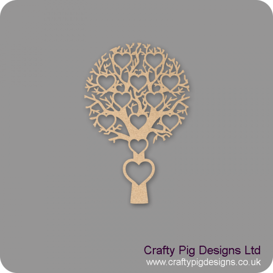 3mm MDF Tree With 12 Hearts - Personalised With Names Or Any Wording Trees Freestanding, Flat & Kits