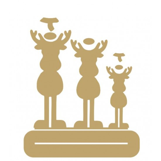 4mm MDF Family Reindeer - Mr and Mrs with one child - Freestanding Christmas Shapes