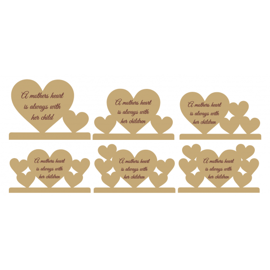 18mm A Mothers Heart  is Always with her Children with option amount of hearts and personalised engraving Mother's Day